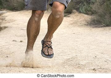 달리기, 야생의, 에서, 원시인, 샌들