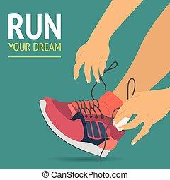 달리기, 여성 여자, 다리, 에서, 구두