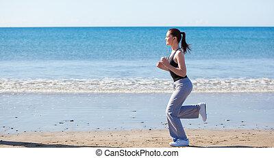 달리기, 여자, 바닷가, 날씬한