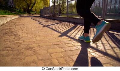 달리기, 여자, 옥외