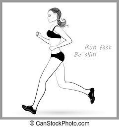 달리기, 여자, 적당, 개념, .