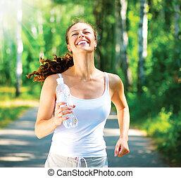 달리기, woman., 여성, 주자, 조깅, 에서, a, 공원