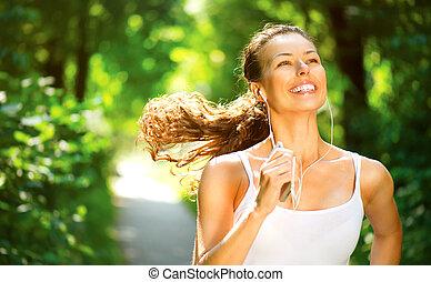 달리기, woman., 옥외, 연습, 에서, a, 공원