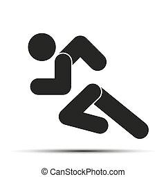 달리다, 사람, 단일의, 상징, 고립된, 배경., 달리기, 백색