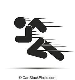 달리다, 사람, 단일의, 상징, motion., 고립된, 배경., 달리기, 백색