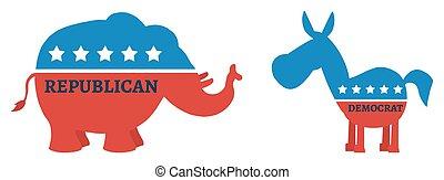 당나귀, 대, 정치에 참여하는, 코끼리