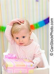 당황하게 하는, 경축하는, 생일, 아기, 초상, 처음