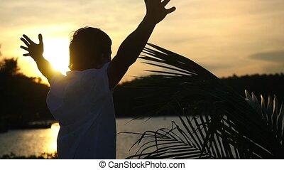 대범한, 정지, 자유, concept., motion., 나무, 나이 적은 편의, 다음의, 열대적인, 손바닥, 은 올린다, 손, 실업가, 공기, 바닷가, 1920x1080