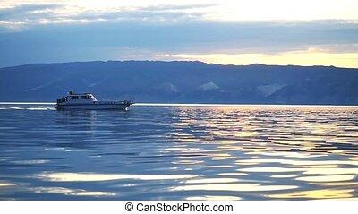 대범한, 파랑, 섬, motion., 어업, 호수, 배경., 보트, 평온, 동안에, 1920x1080,...