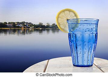 대양, 레몬, 멀리 바라보는 것, 갑판, 멍청한, 번쩍이는, 열대적인, 유리, 평온, lagune