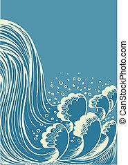 대양, waterfall.vector, 배경, 파도