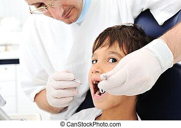 대조, 시리즈, 관계가 있다, 사진, 치과의사, 이