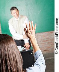 대학생, 손을 들는, 에, 응하다, 에서, 교실