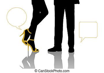 대화, 사이의, 실업가, 와..., 아름다운 여성, 서 있는