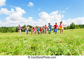대 모임, 의, 키드 구두, 달리기, 공원안에