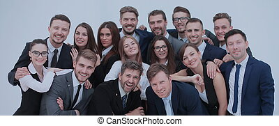 대 모임, 의, 흥분한다, 사업, 사람., 고립된, 백색 위에서