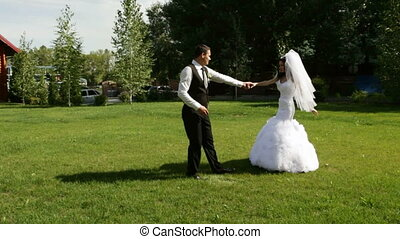 댄스, 댄스, 한 쌍, 결혼한, 결혼식, 처음