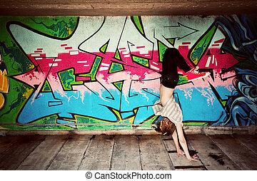 댄스 자세, 향하여, 벽, 낙서, 유행, 소녀