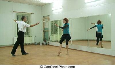 댄스, 정면, 우미한, 거울