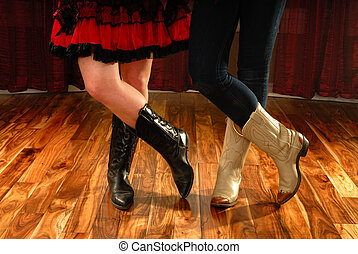 댄스, 카우보이 부츠, 여성, 선, 다리