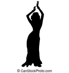 댄스, dancin, 삽화, 높은, girl., 배, 질, 원형