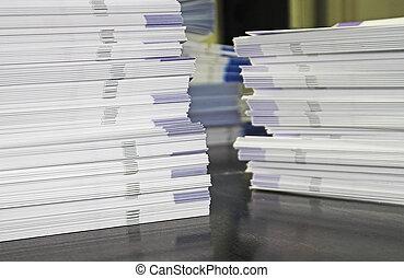 더미, l, 인쇄물, 서류