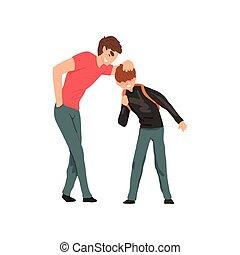 더 낡았다, 소년, 비웃는 것, 연하의 사람, 충돌, 사이의, 아이들, 조롱, 와..., 괴롭히는 것, 에,...