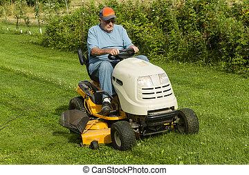 더 낡았다, lawnmower, 가스, 신사, 절단, 구