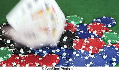 던져진다, 포커, 카지노, 더미, 카드, 칩