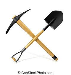 도구, 광업, 삽, pickaxe