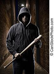 도둑, 통하고 있는, a, 암흑, 골목