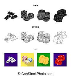 도미노, 뼈, 스택, 의, 칩, a, 더미, 의, mont, 노는 것, blocks., 카지노, 와..., 노름하는, 세트, 수집, 아이콘, 에서, 검정, 스타일, 두값본, 상징, 주식 일러스트, web.