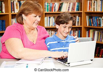 도서관, -, 어머니, 아들
