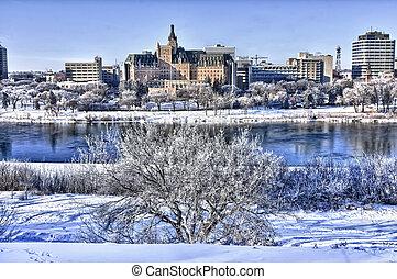 도시, 겨울, saskatoon