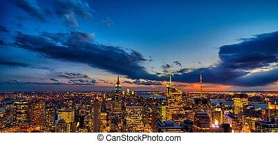 도시, 공중선, 미국, 빛, -, 색, 이상한, 요크, 밤, 새로운, 맨해튼, 보이는 상태