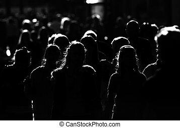 도시, 군중, 사람, 크게, 일, 운동중의