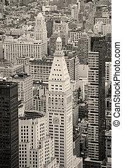 도시, 도심지, 지평선, 검정, 요크, 새로운, 백색, 맨해튼