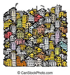 도시, 밑그림, 배경, 치고는, 너의, 디자인