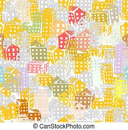 도시, 밑그림, seamless, 배경, 치고는, 너의, 디자인