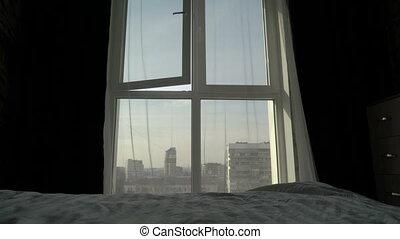 도시, 아파트, 상승, 아침, 높은, 창문, 침실, 보이는 상태