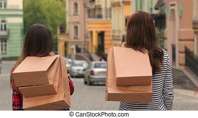 도시, 은 자루에 넣는다, 거리, 쇼핑, 소녀