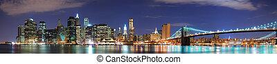도시, 파노라마, 지평선, 요크, 새로운, 맨해튼