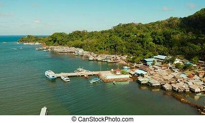 도시, 항구, 섬, palawan, balabac, philippines.