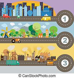 도시, infographic, 벡터, 체재