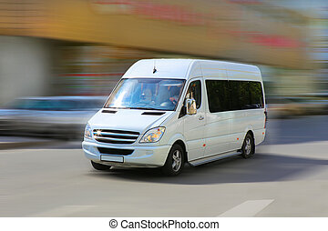 도시, minibus, 거리, 가다