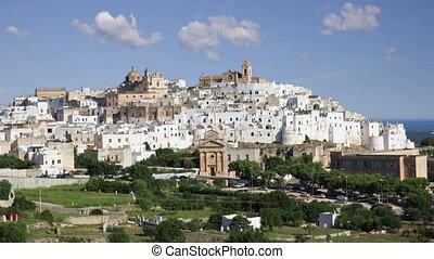 도시, puglia, 백색, 이탈리아, 기절시키는, ostuni