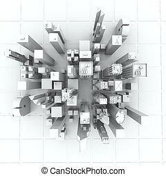 도시, (rendered, 요크, 백색, 새로운, 3d)