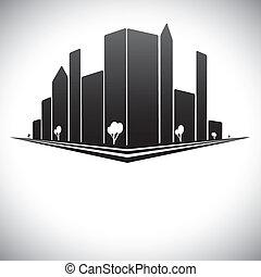 도심지, 건물, 에서, b& w, 의, 현대, 도시 지평선, 와, 마천루, 나무, 키가 큰, 은 우뚝...