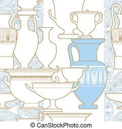 도자기, 소수 민족의 사람, 한 나라를 상징하는, 그리스어, 스타일, seamless, 패턴