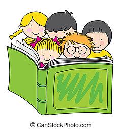 독서, 아이들, 책